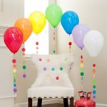 Rainbow Balloon Tassels and Party Chair