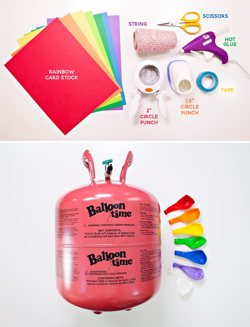 Rainbow Balloon Tassels DIY - Materials