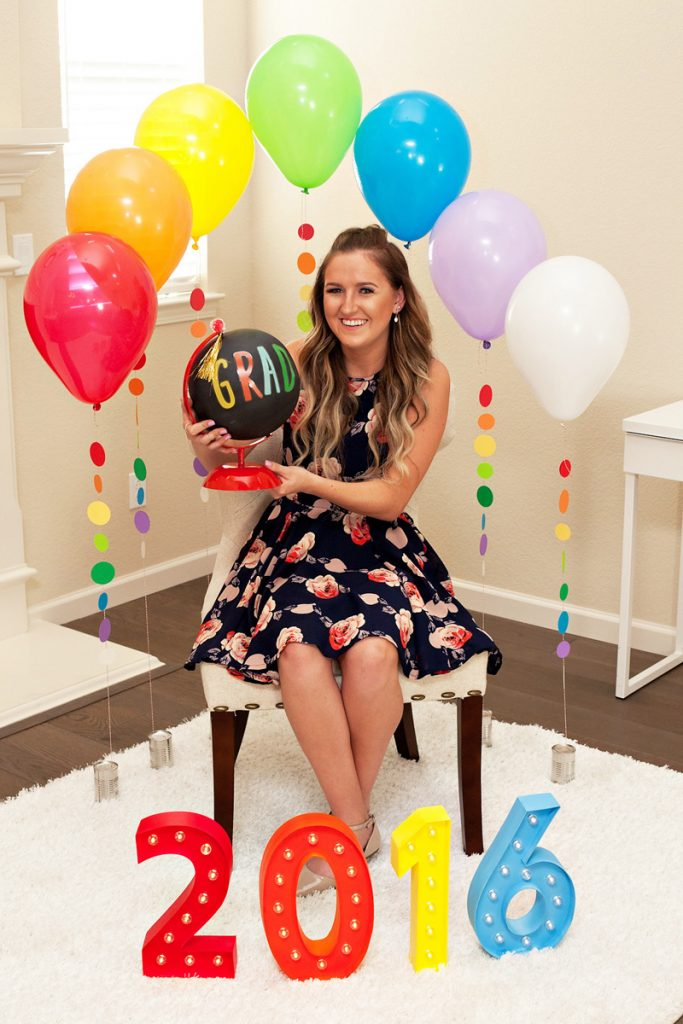 Rainbow Balloon Backdrop - Graduation Party