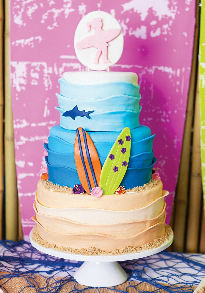 surfer girl beach birthday cake