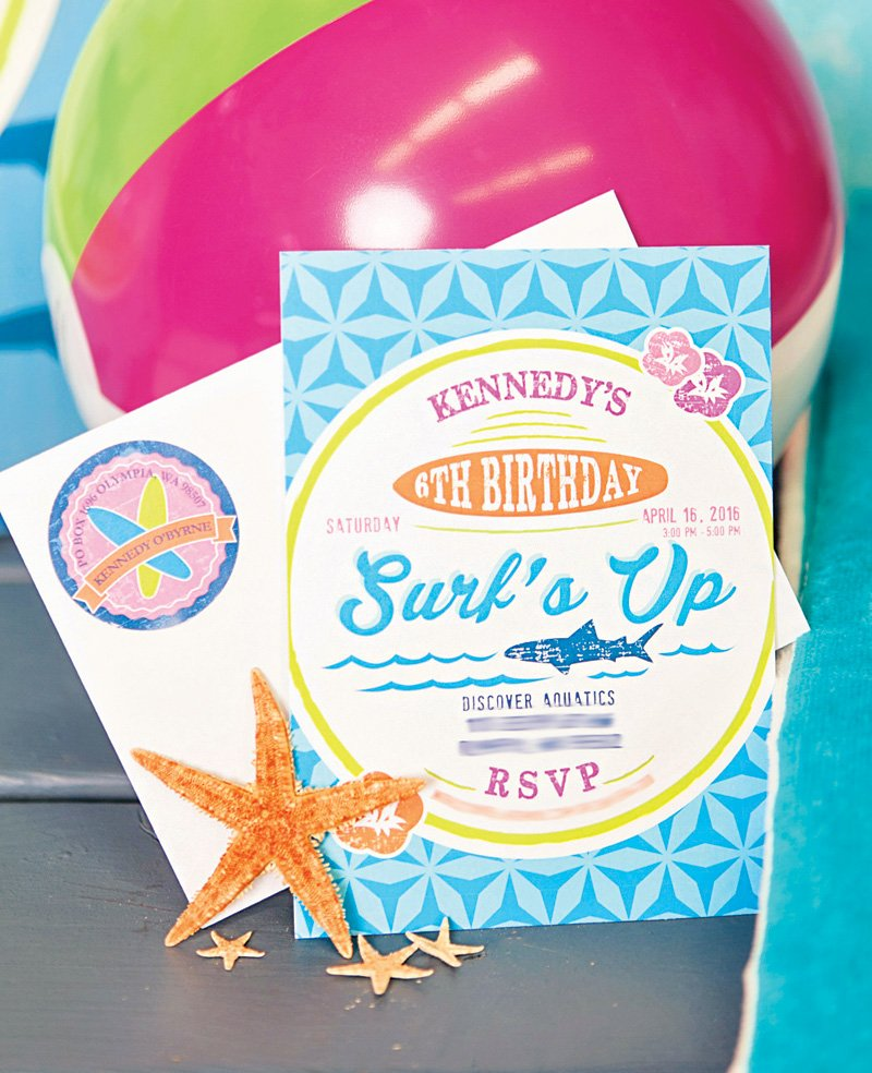 surfs up birthday party inviations