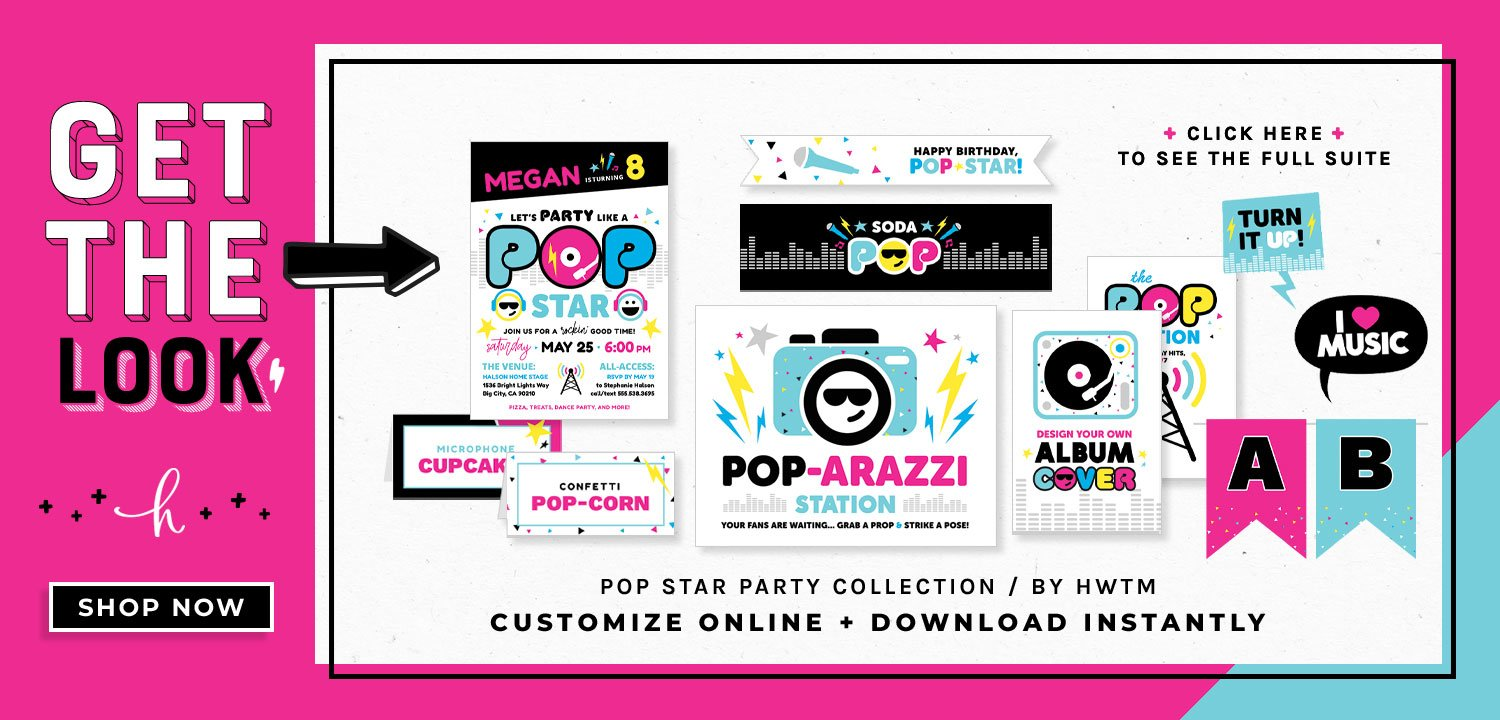Pop Star Party Printables