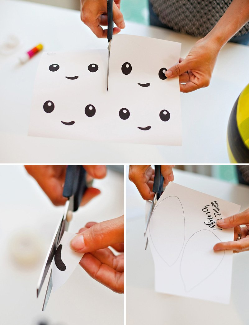 Cutting out the Bumble Bee Printables