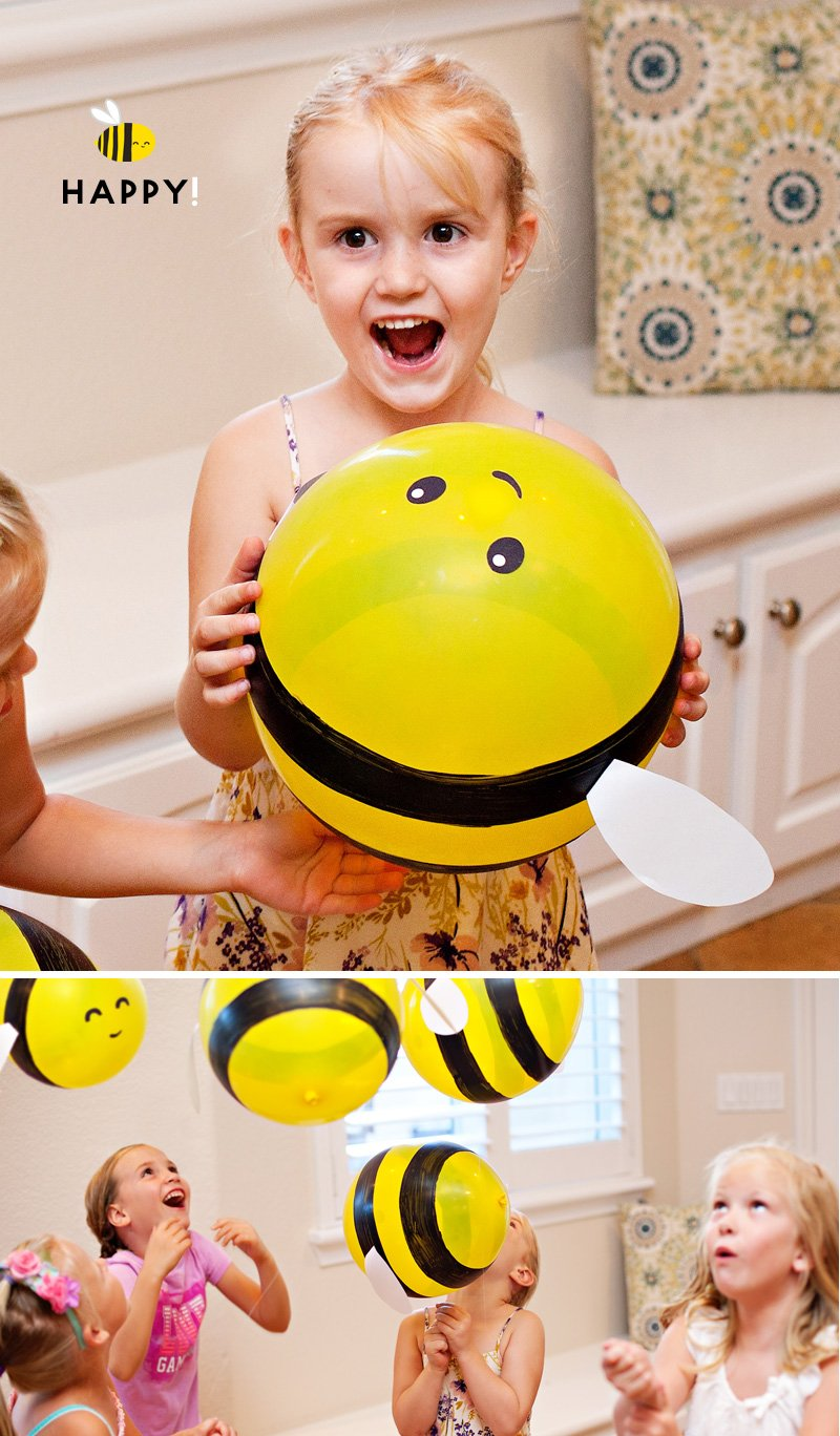 diy bumble bee balloons and happy kids
