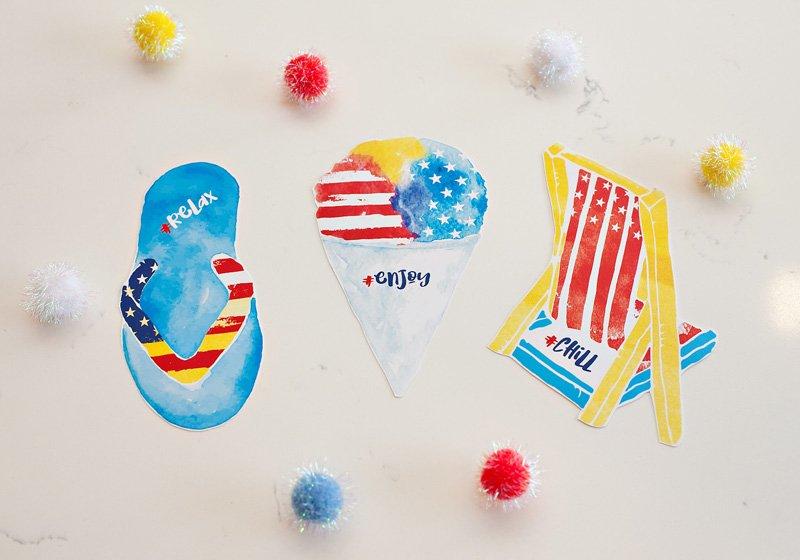 patriotic summer printables watercolor