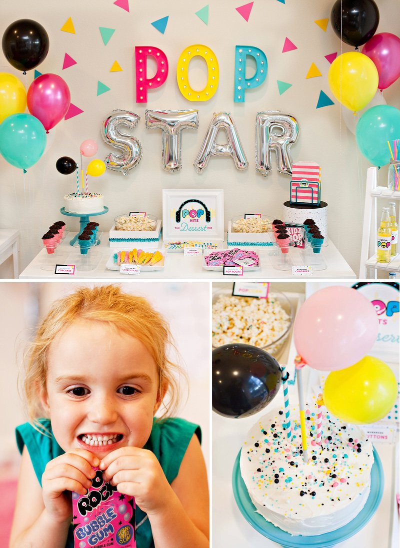 Modern Pop Star Party Dessert Table