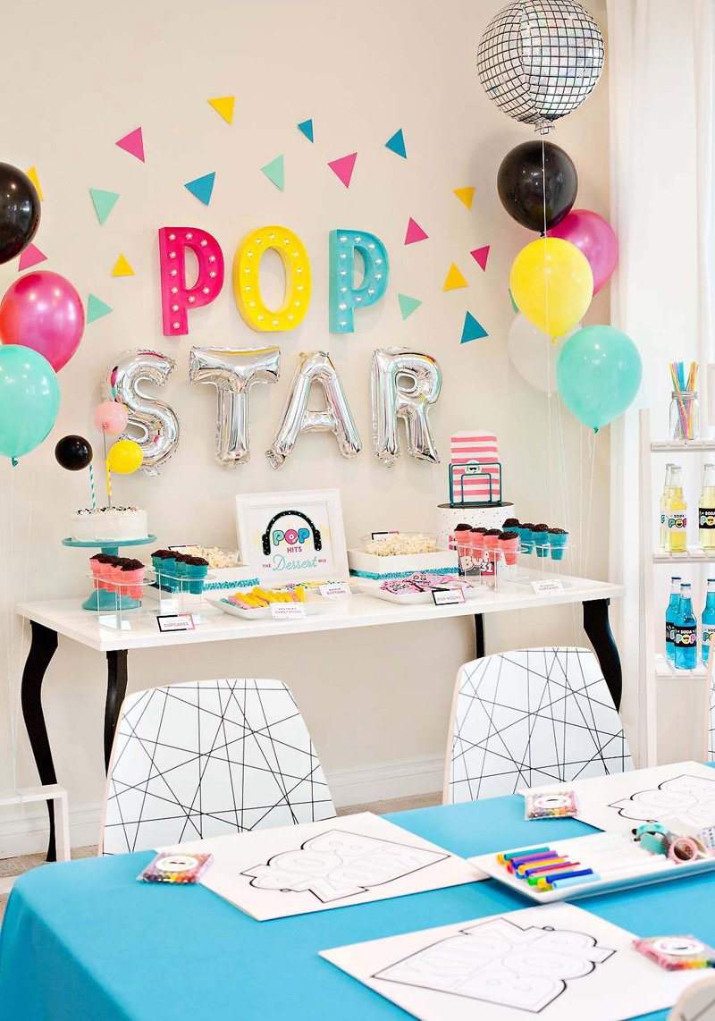 Pop Star Party Dessert Table and Backdrop