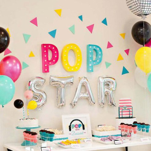 A Colorful & Modern Pop Star Party Dessert Table