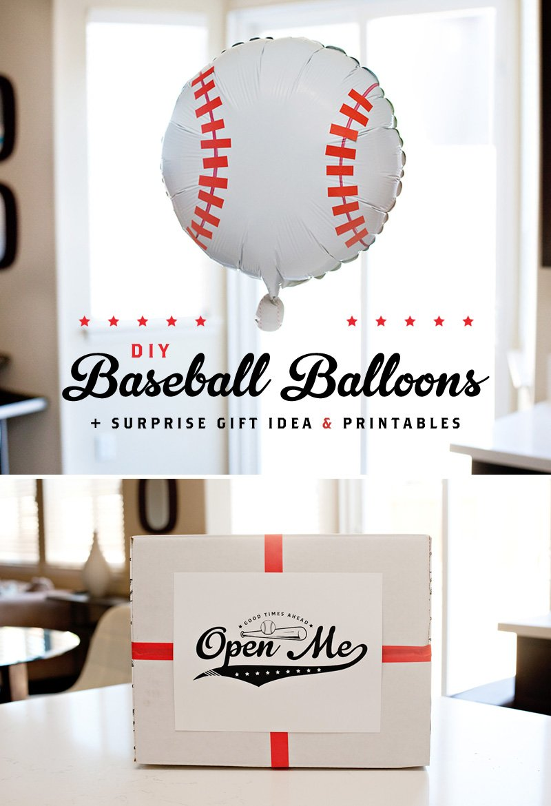 DIY Baseball Balloons Tutorial + Free Baseball Printables