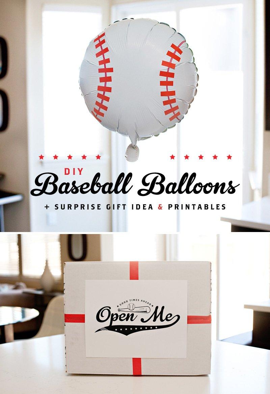 DIY Baseball Balloons Tutorial + Free Baseball Printables