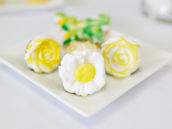 yellow and white flower cookie rings