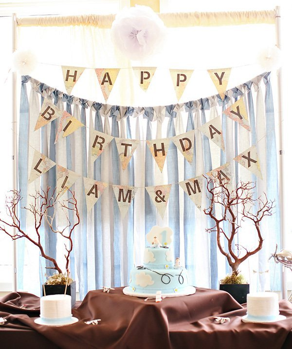 Airplane Birthday Party Get Ready For Takeoff: Vintage Travel Themed Twins First Birthday Party