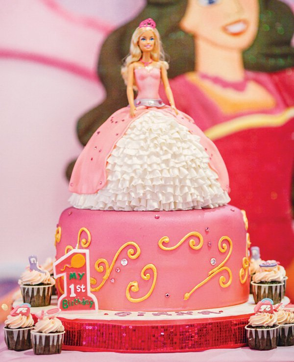 Pink Royal Barbie Princess First Birthday Party Hostess With The