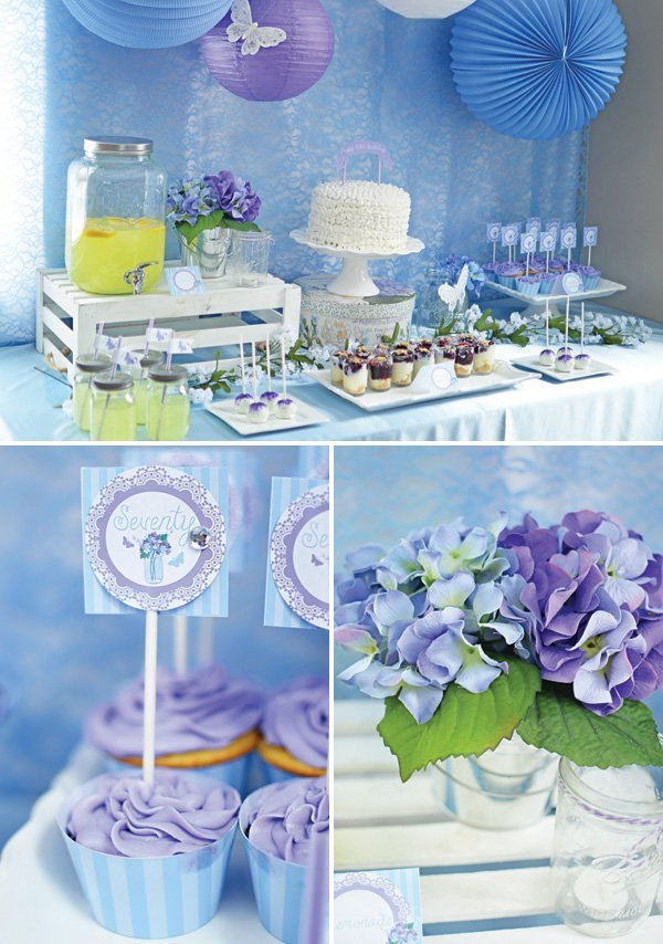 Spring butterfly 70th birthday party blue purple for 70th birthday decoration