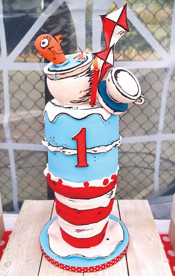 Quirky Dr Seuss Cat In The Hat First Birthday Party Hostess