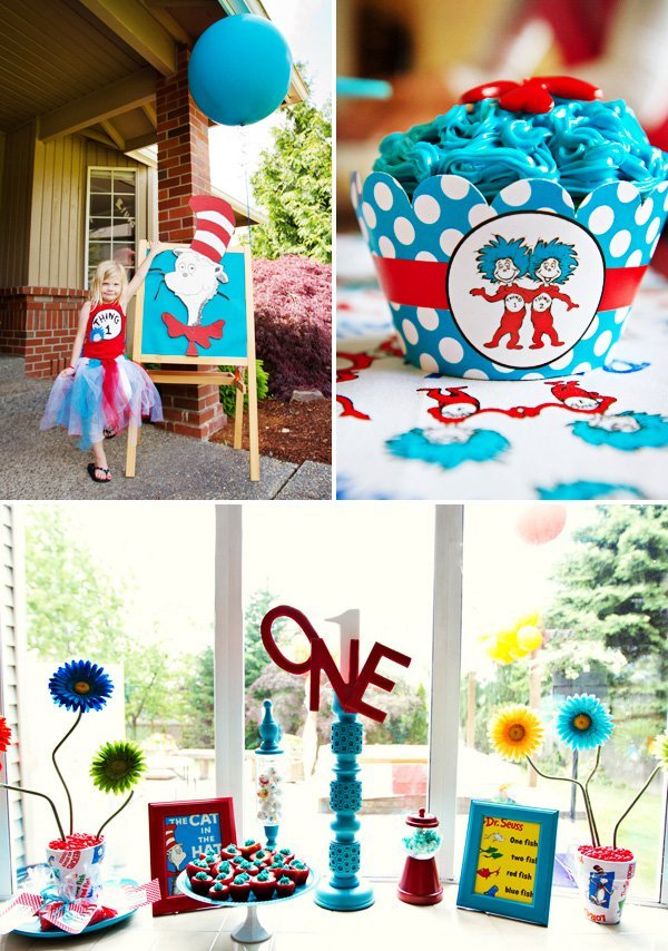 Playful Cat in the Hat First Birthday Dr Seuss Theme Hostess