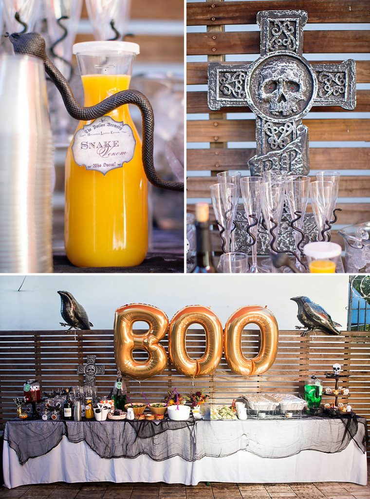 giant BOO Halloween balloons and drink table