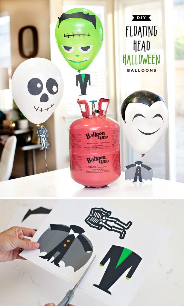 DIY Halloween Balloons - Skeleton, Frankenstein, Vampire