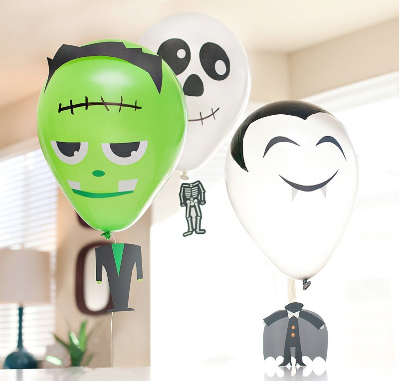 Halloween Balloons Tutorial - Frankenstein, Skeleton, Vampire
