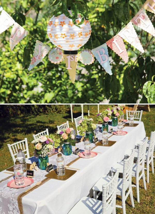 Vintage lace floral garden birthday party hostess for Outdoor decorating ideas for birthday party