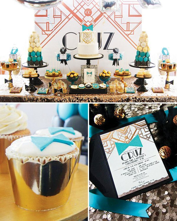Roaring Great Gatsby Themed Christening Teal Amp Rose Gold