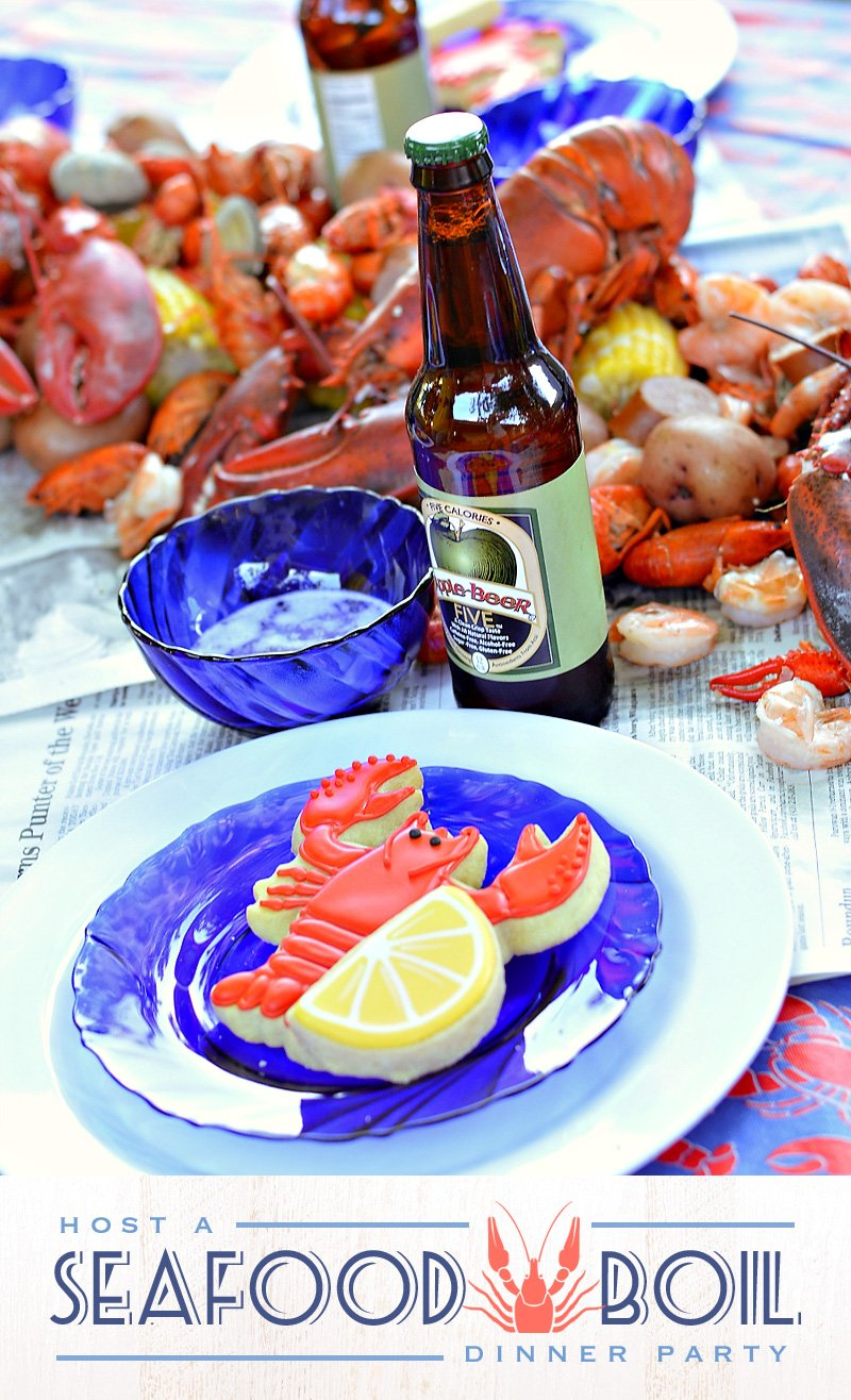 Lobster Boil Party Table and Lobster Cookies