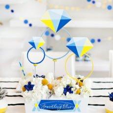 geometric bridal shower centerpiece something blue