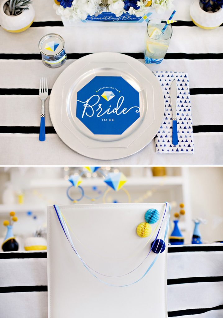 Blue and Yellow Geometric Bridal Shower