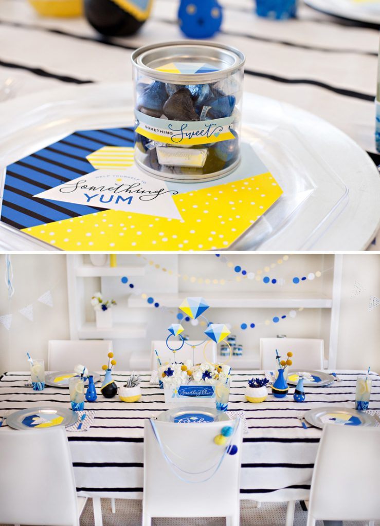 modern bridal shower table and place settings