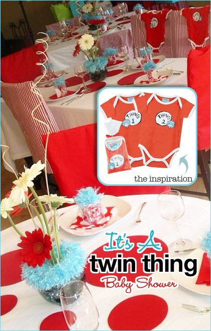 Real parties it 39 s a twin thing hostess with the mostess for Baby shower decoration twins