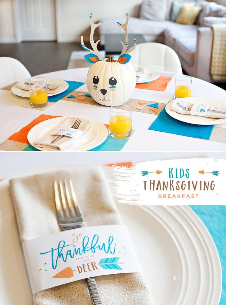 Kids Thanksgiving Breakfast Table