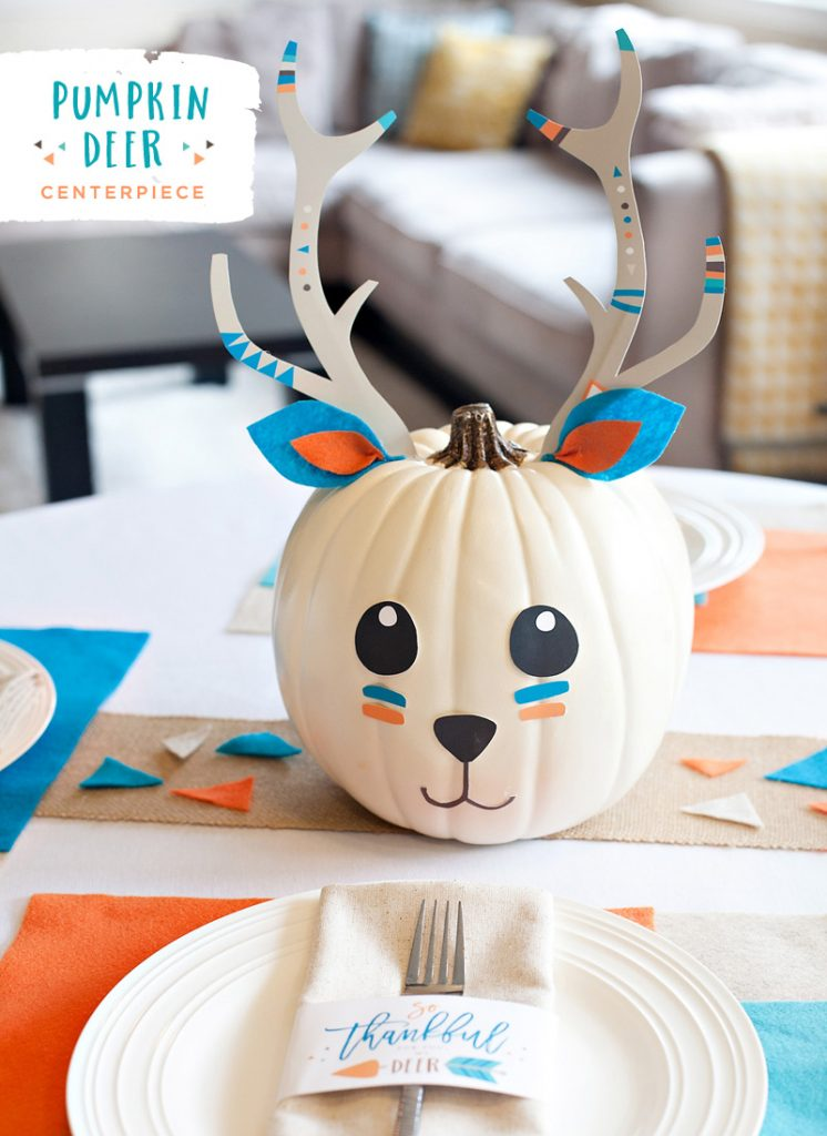 DIY Kids Thanksgiving Centerpiece - Pumpkin Deer