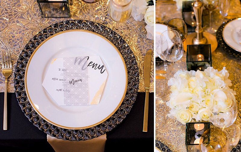 black and gold place settings and floral centerpiece