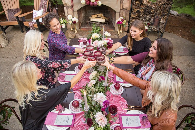 Wine and Blush Friendsgiving Party