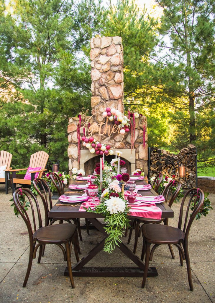 Glam Wine and Blush Thanksgiving Table