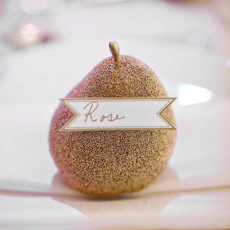 glitzy pear place card