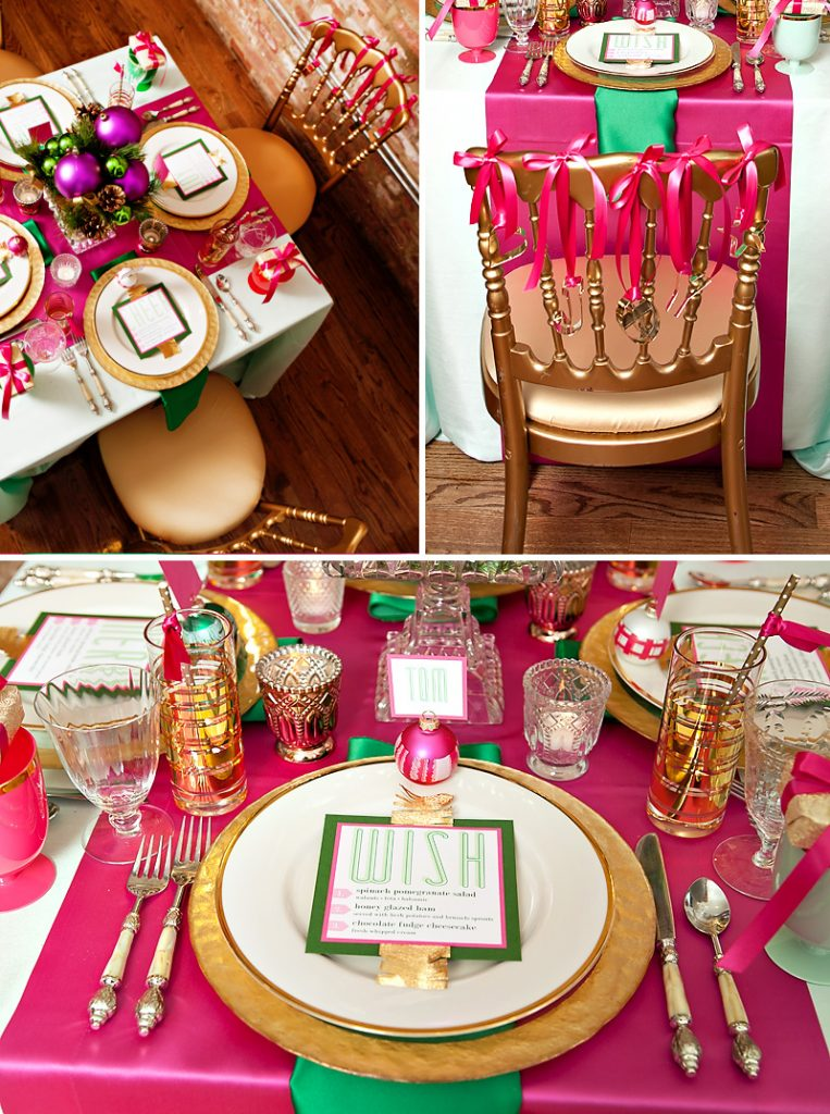 pink and green holiday table