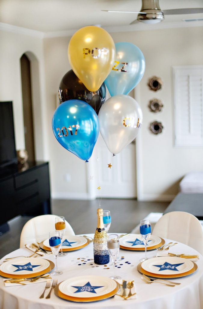 New Year's Eve Party Table - Black Gold Blue