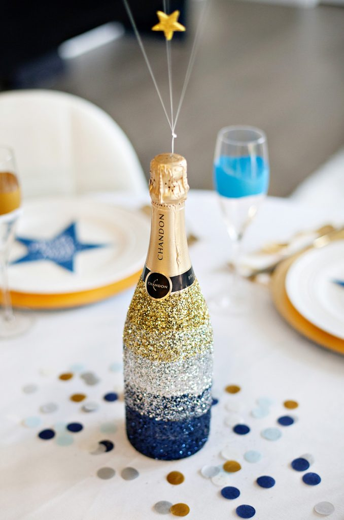 Midnight Toast New Year's Eve Table + Ombre Glittered ...