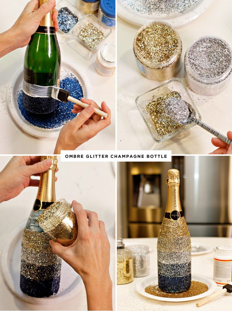 DIY Ombre Glittered Champagne Bottle Tutorial