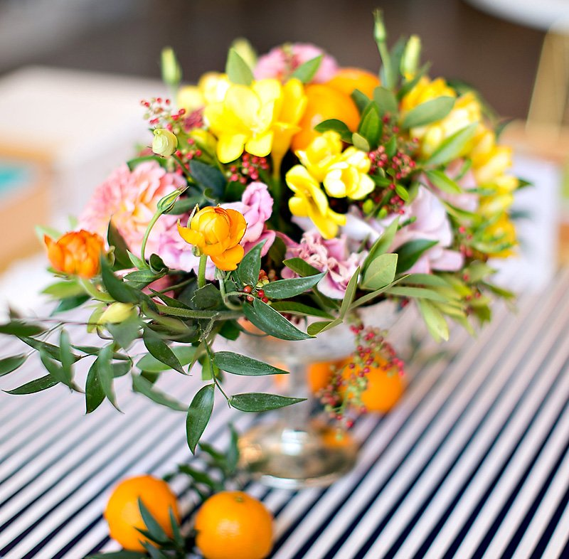 Gorgeous yellow orange pink floral centerpiece