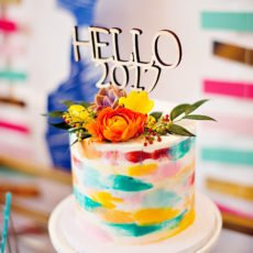 colorful painted brush strokes cake