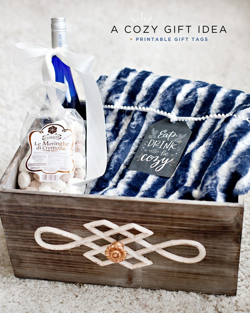 Holiday Blanket Gift Basket Idea