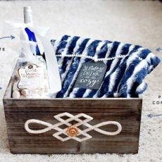 Holiday Gift Basket Idea with Plush Blanket