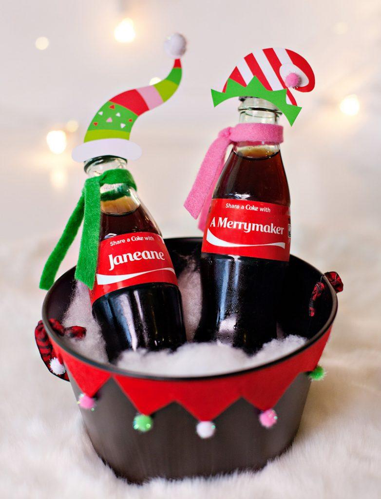 Holiday Gift Idea - Personalized Coke Bottles - Elf Theme