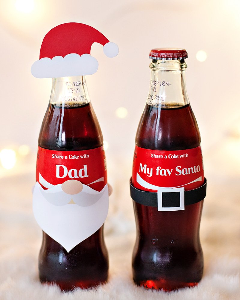 Holiday Gift Idea - Personalized Coke Bottles - Santa Theme