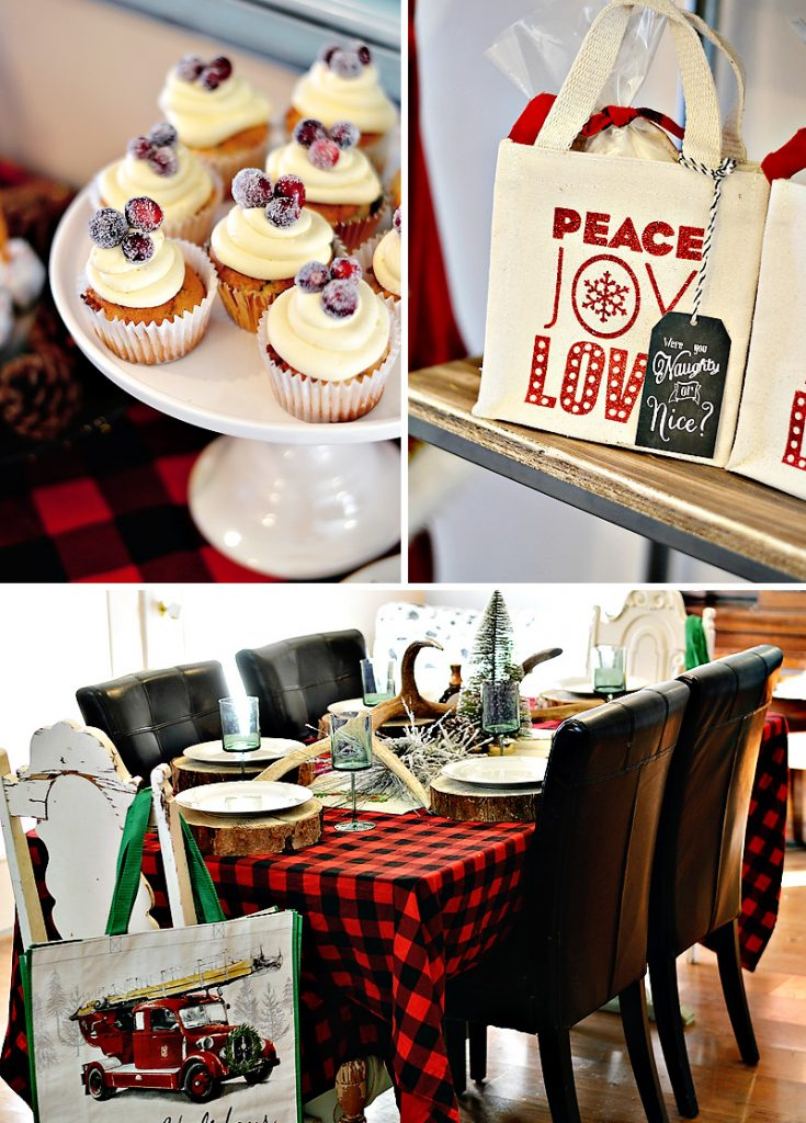 Rustic Holiday Party with Buffalo Check Tablecloth