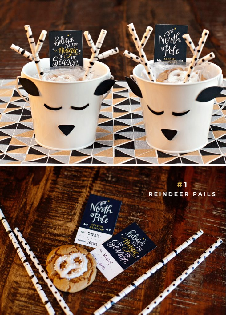 DIY reindeer pails for holiday cookies