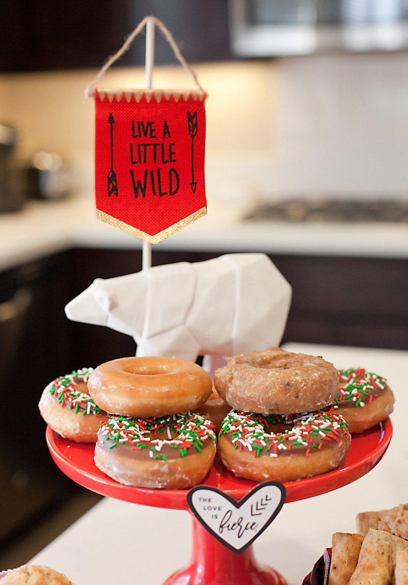 holiday donut tray and polar bear figurine