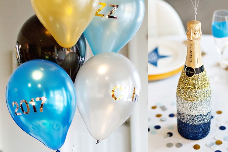 New Year's Eve Balloons and Glittered Champagne Bottle